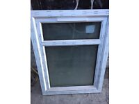 White UPVC privacy glass window with leaf design 676w x 693h never used