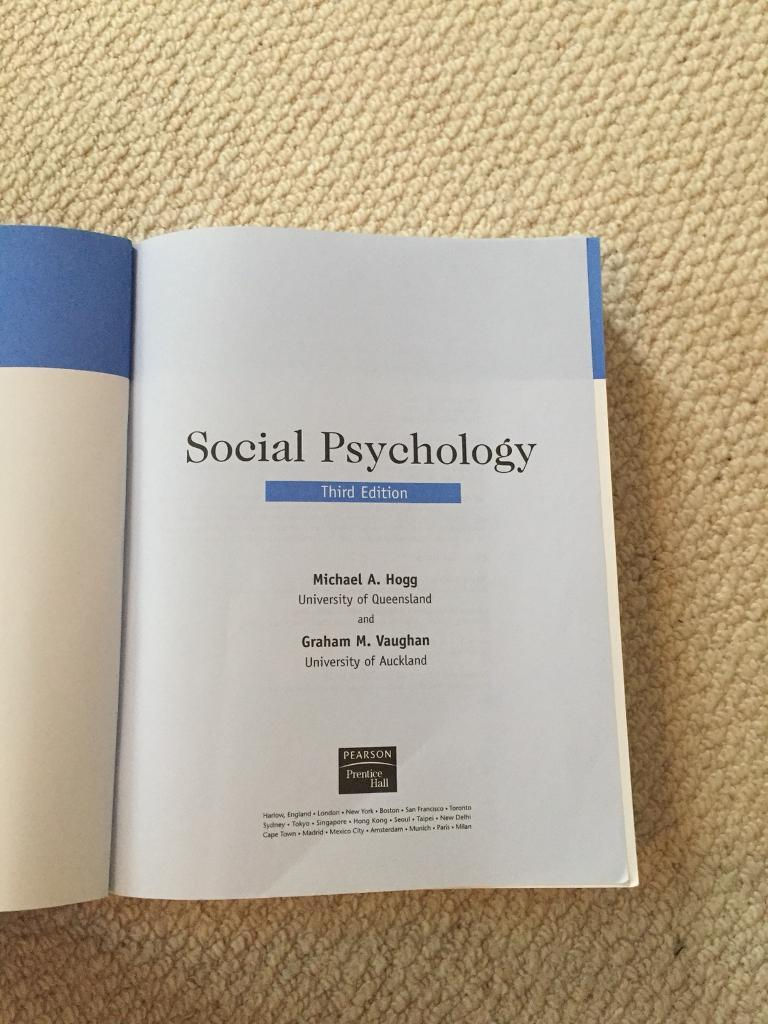 Social psychology textbook in thrapston northamptonshire gumtree social psychology textbook image 1 of 2 fandeluxe Choice Image