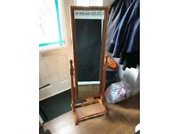 Free standing wooden framed mirror