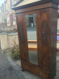 Fab Antique Victorian Oak Carved Bevelled Edge Mirror Door Wardrobe with Large Drawer