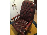Beautiful Leather Chesterfield (look) swivel office chairs in red