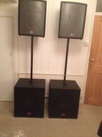 Peavey UL12 x2, UL115 (Subs) x2 and speaker poles