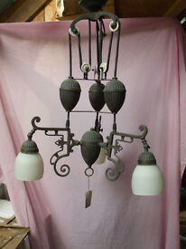 French style rise and fall triple shade lamp