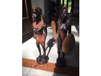 Pair of wooden carved masai warriors approx 31.5cm