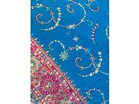 3 pc turquoise saree