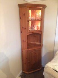 Tall corner pine cabinet