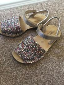 Girls Multicoloured Sparkly Sandals Size 11
