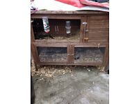 Two storey rabbit hutch - fair condition 20 ins X 40 ins X 48ins. Collection only.