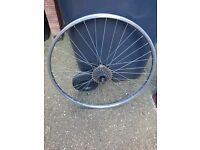 "26"" back bike wheel with 7 speed freewheel"