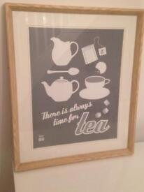 Picture modern retro grey/ wood/cream 57 x 67 cm great condition