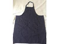 Blue/white butchers style apron