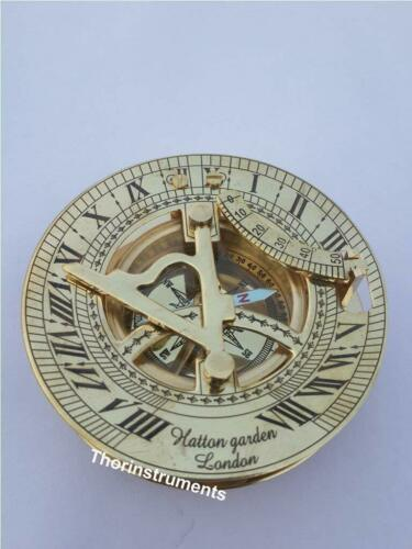 Solid Brass Sundial and Compass Polished Brass Sundial Compas Christmas Day Gift