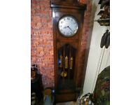 oak art deco westminster chime longcase grandfather clock