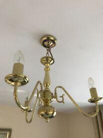 Classic Brass Three Arm Pendant Ceiling Light