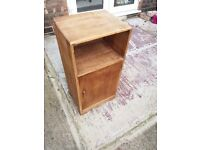 Bedside unit with cupboard and open slot. Great for up-cycling