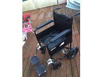 Black leather wheel chair