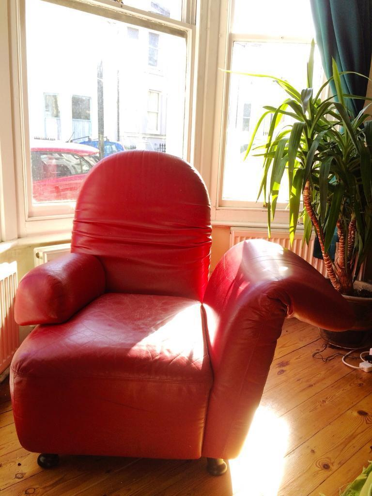 Strange Unusual And Rare Red Leather Chair With Folding Arm And Back Machost Co Dining Chair Design Ideas Machostcouk
