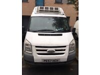 white 57 plate FORD transit high roof with double referigerated medium base wheel van