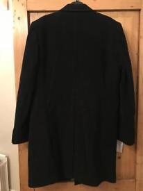 BNWT Balli (M&S luxury) dark blue overcoat cashmere blend - price tag £179!