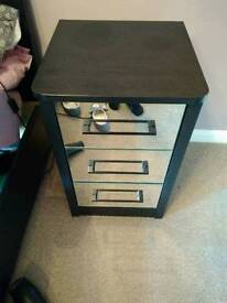Two mirror front black trim bedside cabinets 3 drawer