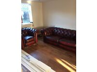 3 Piece Leather Chesterfield Saxon Suite