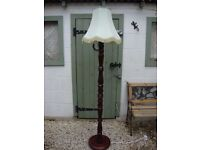 Quality,Turned Hardwood Standard Lamp And Shade.