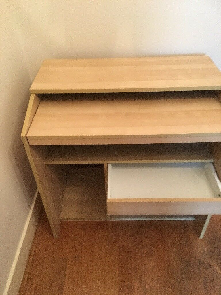 Perfect Compact Light Wood Desk With Great Storage Ikea
