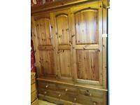 Solid pine triple wardrobe 5 drawers attached