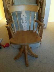 Solid Pine Captain's Swivel Chair