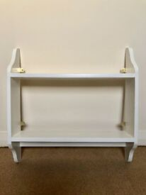 White Painted Pine Shabby Chic 2 Tier Wall Shelf Bookshelf
