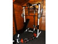 Marcy smith machine , high/low pulley, bench, 100 kg weights, EZ bar, dumbbells