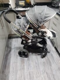 Icandy peach double truffle pushchair and carry cot