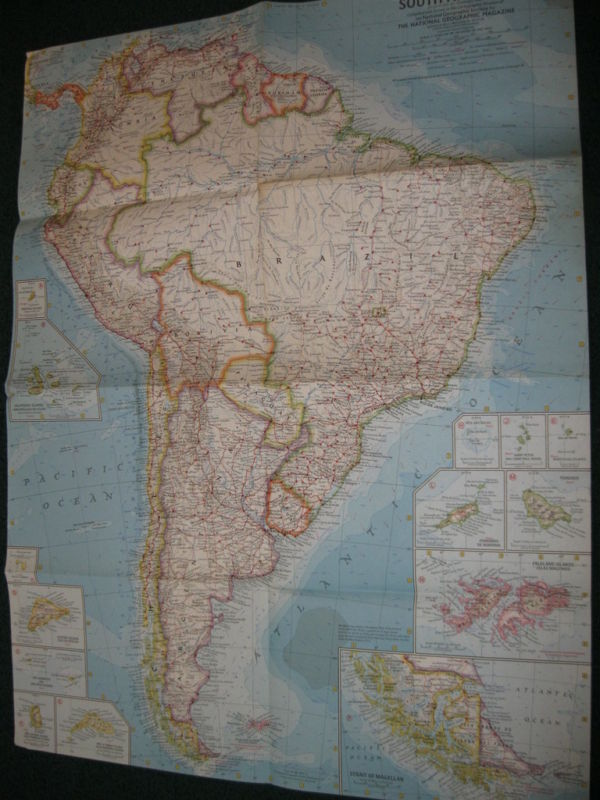 1960 SOUTH AMERICA NATIONAL GEOGRAPHIC MAP
