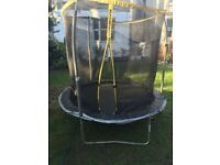 8ft Trampoline with Ladder, Padded Safety Enclosure Net, Anchor Kit