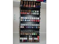Nail Polish collection of multiple colours in a wall mountable stand (58 Nail Polish)