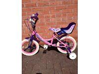 "Girls 12"" princesses bike with stabilisers"