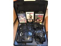 Sega Megadrive with 4 games, controllers & case