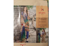 PAKISTANI DESIGNER WEAR PRINTED WITH PRINTED AND EMBROIDERED KAMEEZ, PRINTED DUPTTA -GREEN/BLUE