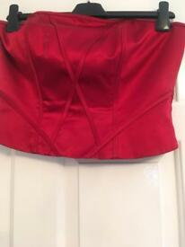 Two piece Red bridesmaid outfit -Size 10 Top, Size 12 Skirt