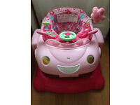 Baby Mothercare Pink 3 in 1 Walker Bouncer Car