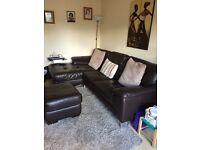Leather corner sofa with puffet (walnut)