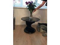 Stylish black glass table