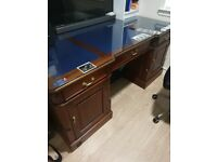 bankers desk with glass top