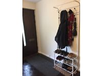 Coat and shoe rack/stand, white, with hall carpet runner too