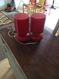 Pair of red glass lamps