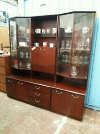 Vintage Dark Wood Wall Unit