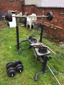 Cast Iron Weights and Bench for Sale