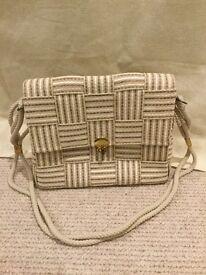 Cream woven style handbag with rope strap
