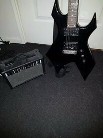 BC RICH WARLOCK WITH WIDOW HEADSTOCK & PRACTICE AMP £80 COLLECTION ONLY