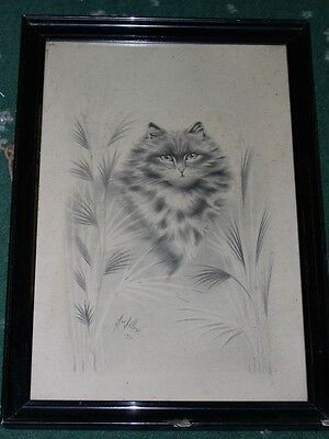 LARGE ANTIQUE ORIGINAL CAT DRAWING BY H.W. HELLINGS 1921